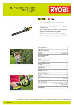 RYOBI RHT1855R 18V Akumulátorový plotostřih, délka lišty 55cm 5133002161 A4 PDF