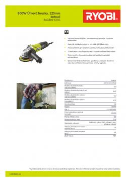 RYOBI RAG800 800W Úhlová bruska, 125mm kotouč 5133002491 A4 PDF