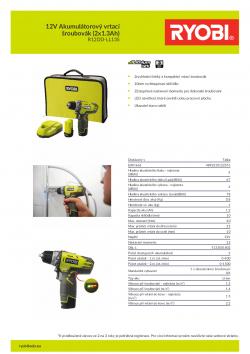 RYOBI R12DD 12V Akumulátorový vrtací šroubovák (2x1.3Ah) 5133001802 A4 PDF
