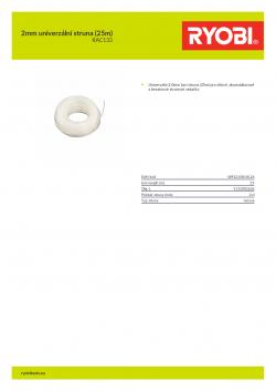 RYOBI RAC133 2mm univerzální struna (25m) 5132002626 A4 PDF