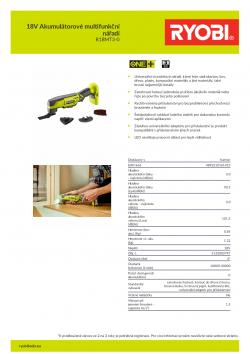 RYOBI R18MT3 18V Akumulátorové multifunkční nářadí 5133003797 A4 PDF