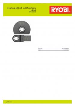 RYOBI RAK02MT 2x pilový plátek k multifunkčnímu nářadí 5132002595 A4 PDF