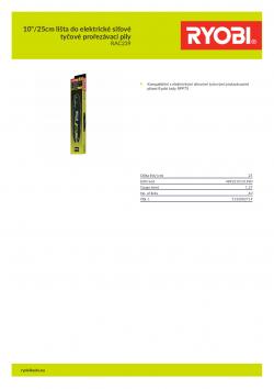 """RYOBI RAC239 10""""/25cm lišta do elektrické síťové tyčové prořezávací pily 5132002714 A4 PDF"""
