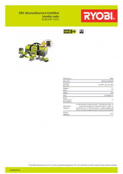 RYOBI R18CK4F-252S 18V Akumulátorová čtyřdílná kombo sada 5133004771 A4 PDF
