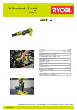 """RYOBI R18RW2 18V Akumulátorový 1/4"""" ráčnový klíč 5133004833 A4 PDF"""