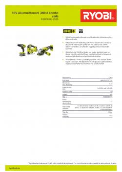 RYOBI R18CK3C-252S 18V Akumulátorová 3dílná kombo sada 5133003598 A4 PDF