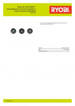 RYOBI RAC125 Cívky do 18V ONE+™ akumulátorové strunové sekačky s 1.6mm strunou (trojbalení) 5132002434 A4 PDF
