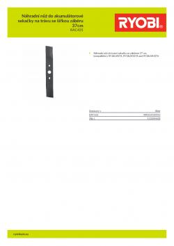 RYOBI RAC435 Náhradní nůž do akumulátorové sekačky na trávu se šířkou záběru 37cm 5132004638 A4 PDF