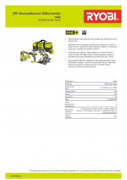 RYOBI R18DDJSCSP 18V Akumulátorová 3dílná kombo sada 5133004309 A4 PDF