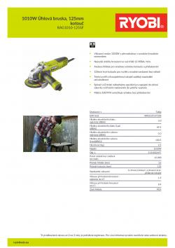 RYOBI RAG1010 1010W Úhlová bruska, 125mm kotouč 5133002497 A4 PDF