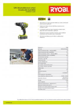 RYOBI R18DD3 18V Akumulátorový vrtací šroubovák (1x2.0Ah) 5133003347 A4 PDF