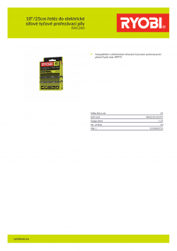 """RYOBI RAC240 10""""/25cm řetěz do elektrické síťové tyčové prořezávací pily 5132002715 A4 PDF"""