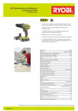 RYOBI R18PD3 18V Akumulátorová příklepová vrtačka (2x2.0Ah) 5133003342 A4 PDF