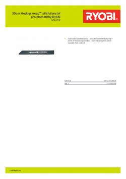 RYOBI RAC310 55cm Hedgesweep™ příslušenství pro plotostřihy Ryobi 5132002776 A4 PDF