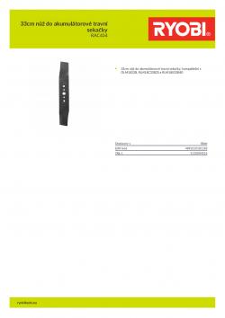 RYOBI RAC434 33cm nůž do akumulátorové travní sekačky 5132004516 A4 PDF