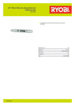 "RYOBI RAC226 12""/30cm lišta do akumulátorové řetězové pily 5132002486 A4 PDF"