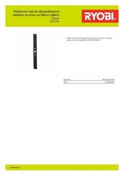 RYOBI RAC445 Mulčovací nůž do akumulátorové sekačky na trávu se šířkou záběru 51cm 5132004640 A4 PDF