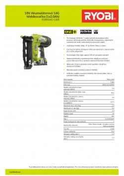 RYOBI R18N16G 18V Akumulátorová 16G hřebíkovačka (1x2.0Ah) 5133003859 A4 PDF