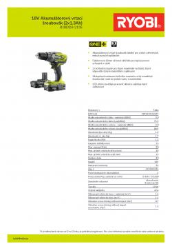 RYOBI R18DD3 18V Akumulátorový vrtací šroubovák (2x1.3Ah) 5133003352 A4 PDF