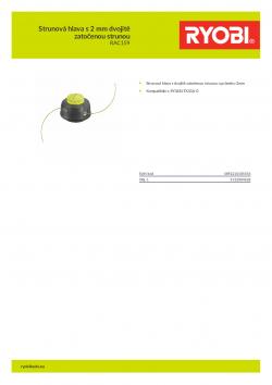 RYOBI RAC159 Strunová hlava s 2 mm dvojitě zatočenou strunou 5132004628 A4 PDF
