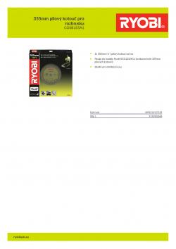 RYOBI COSB355A1 355mm pilový kotouč pro rozbrusku 5132002684 A4 PDF