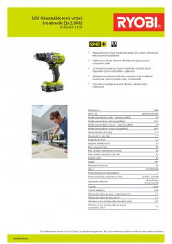 RYOBI R18DD3 18V Akumulátorový vrtací šroubovák (1x1.3Ah) 5133003350 A4 PDF