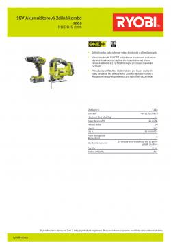 RYOBI R18DDJS-220S 18V Akumulátorová 2dílná kombo sada 5133003575 A4 PDF