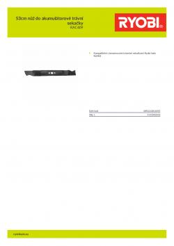 RYOBI RAC409 53cm nůž do akumulátorové trávní sekačky 5132002632 A4 PDF