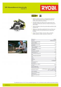 RYOBI R18CSP 18V Akumulátorová okružní pila 5133002628 A4 PDF