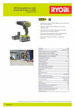 RYOBI R18DD3 18V Akumulátorový vrtací šroubovák (5.0Ah + 2.0Ah) 5133003353 A4 PDF