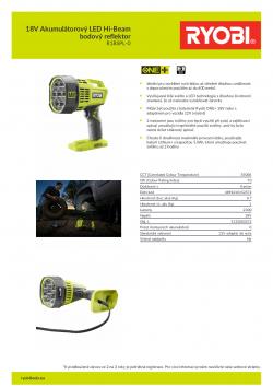RYOBI R18SPL 18V Akumulátorový LED Hi-Beam bodový reflektor 5133003372 A4 PDF