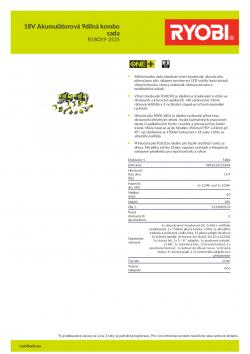 RYOBI R18CK9-252S 18V Akumulátorová 9dílná kombo sada 5133003576 A4 PDF