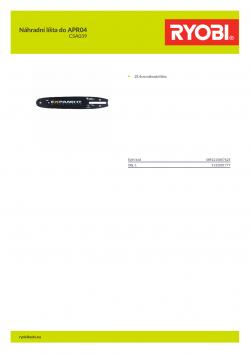 RYOBI CSA039 Náhradní líšta do APR04 5132001777 A4 PDF