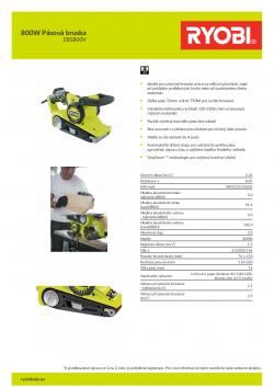 RYOBI EBS800V 800W Pásová bruska 5133001146 A4 PDF