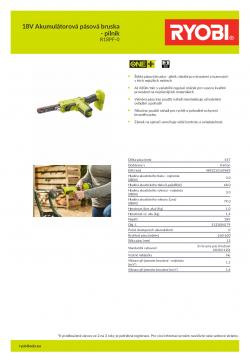 RYOBI R18PF 18V Akumulátorová pásová bruska - pilník 5133004179 A4 PDF