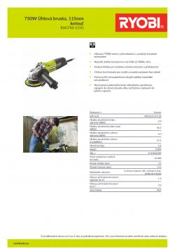 RYOBI RAG750 750W Úhlová bruska, 115mm kotouč 5133002489 A4 PDF