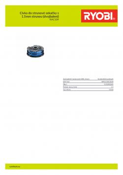 RYOBI RAC109 Cívka do strunové sekačky s 1.5mm strunou (dvojbalení) 5132002645 A4 PDF