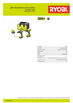 RYOBI R18PDID2-215S 18V Akumulátorová dvoudílná kombo sada 5133004723 A4 PDF