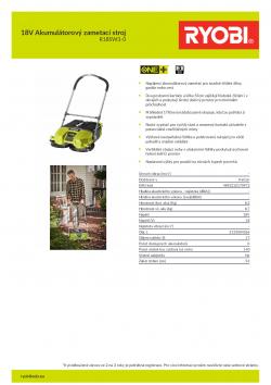 RYOBI R18SW3 18V Akumulátorový zametací stroj 5133004365 A4 PDF