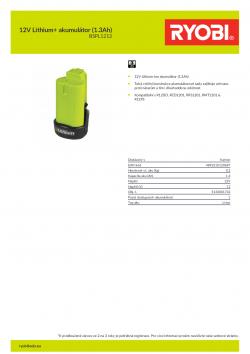 RYOBI BSPL1213 12V Lithium+ akumulátor (1.3Ah) 5133001732 A4 PDF