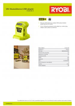 RYOBI R18USB 18V Akumulátorový USB adaptér 5133004381 A4 PDF