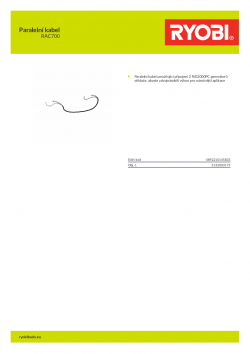 RYOBI RAC700 Paralelní kabel 5132003175 A4 PDF