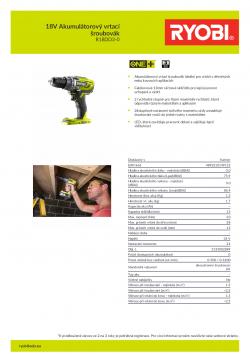 RYOBI R18DD3 18V Akumulátorový vrtací šroubovák 5133002889 A4 PDF