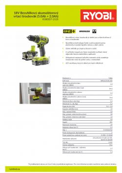 RYOBI R18DD7 18V Bezuhlíkový akumulátorový vrtací šroubovák (5.0Ah + 2.0Ah) 5133004534 A4 PDF