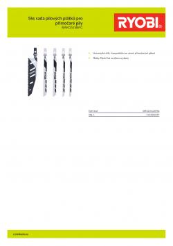 RYOBI RAK05JSBFC 5ks sada pilových plátků pro přímočaré pily 5132002697 A4 PDF