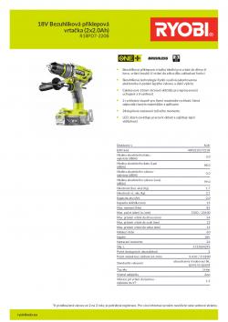 RYOBI R18PD7 18V Bezuhlíková příklepová vrtačka (2x2.0Ah) 5133004295 A4 PDF