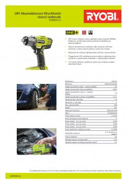 RYOBI R18IW3 18V Akumulátorový třírychlostní rázový utahovák 5133002436 A4 PDF