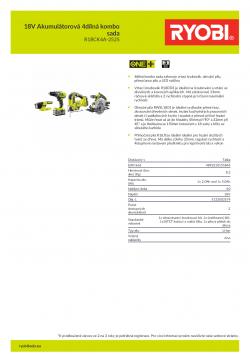 RYOBI R18CK4A-252S 18V Akumulátorová 4dílná kombo sada 5133003579 A4 PDF
