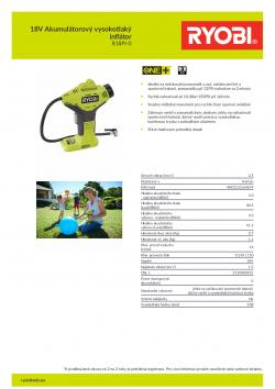 RYOBI R18PI 18V Akumulátorový vysokotlaký inflátor 5133003931 A4 PDF