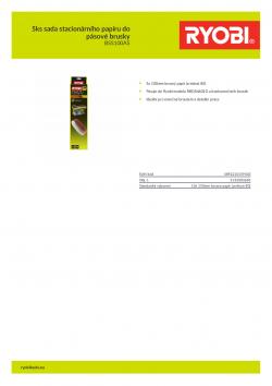 RYOBI BSS100A5 5ks sada stacionárního papíru do pásové brusky 5132003683 A4 PDF